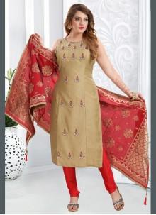 Handwork Art Silk Churidar Beige Designer Suit