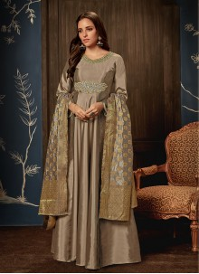 Handwork Beige Readymade Gown