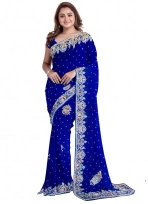 Handwork Blue Designer Saree