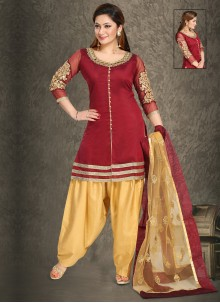 Handwork Chanderi Punjabi Suit in Maroon