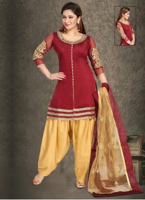 Handwork Chanderi Punjabi Suit in Maroon