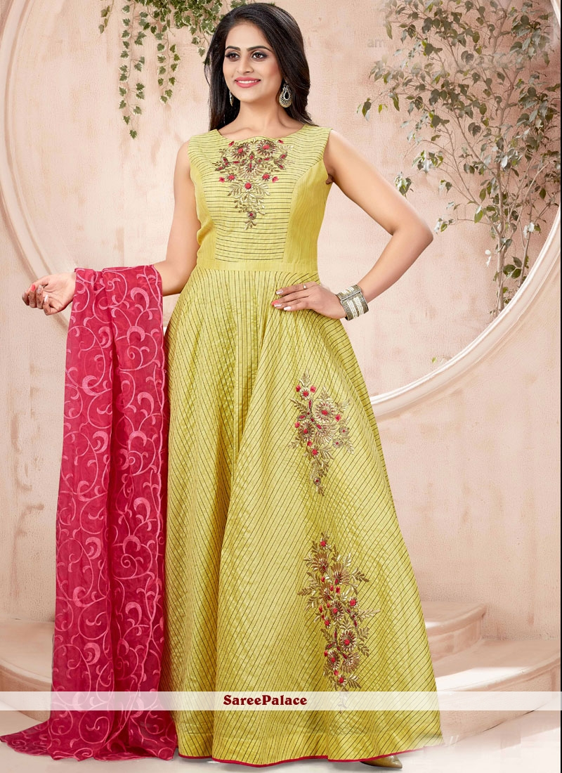 80aeb49b10ac Buy Handwork Chanderi Readymade Trendy Gown Online