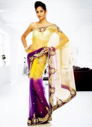Purple And Yellow Handwork Classic Designer Saree