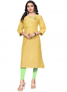 Handwork Cotton Party Wear Kurti in Yellow