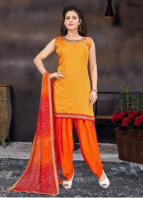 Handwork Orange Designer Patiala Suit