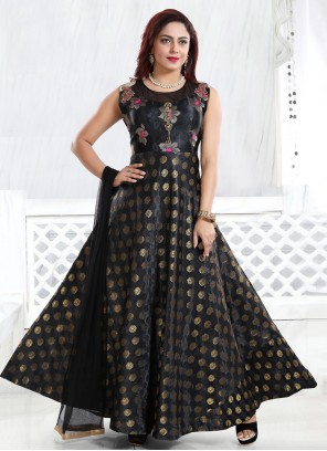 Handwork Fancy Fabric Readymade Gown in Black