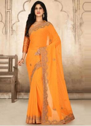 Handwork Georgette Classic Designer Saree in Orange