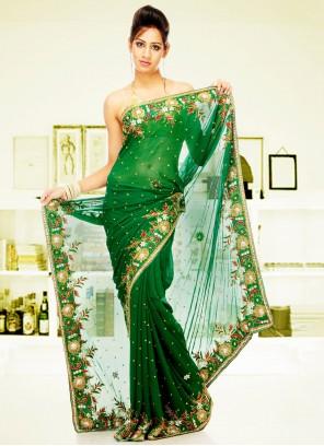 Green Handwork Georgette Classic Saree