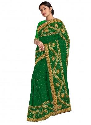 Handwork Georgette Designer Saree in Green