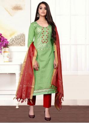 Handwork Green Cotton Designer Straight Suit