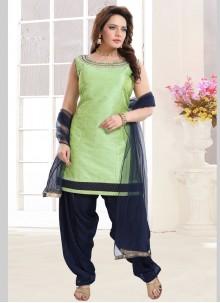 Handwork Green Malbari Silk  Salwar Suit