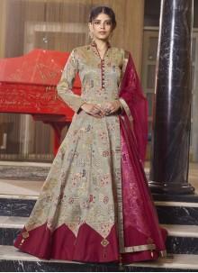 Handwork Jacquard Readymade Anarkali Salwar Suit in Brown