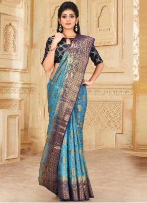 Handwork Kanjivaram Silk Traditional Designer Saree