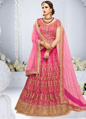 Pink Art Silk Handwork Lehenga Choli