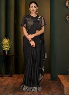 Handwork Lycra Black Trendy Saree