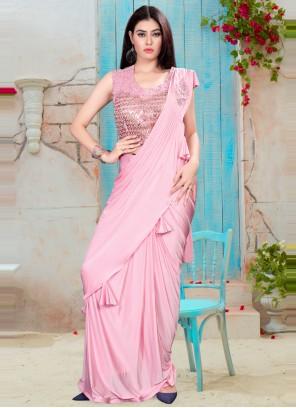 Handwork Lycra Pink Classic Saree