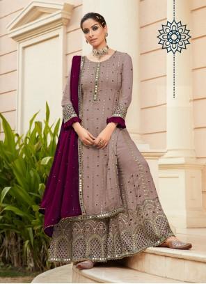 Handwork Mauve  Designer Palazzo Salwar Suit