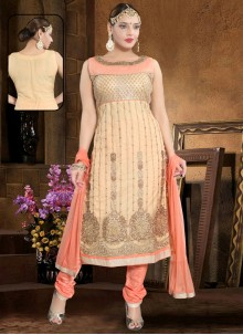 Handwork Net Salwar Suit in Peach