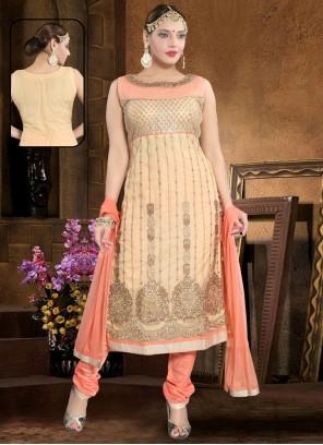 Handwork Net Salwar Suit in Peach