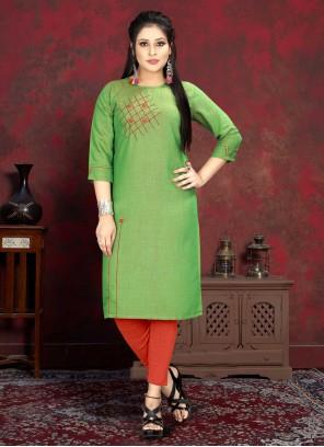 Green Handwork Rayon Designer Kurti