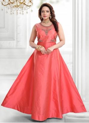 Handwork Silk Pink Readymade Gown