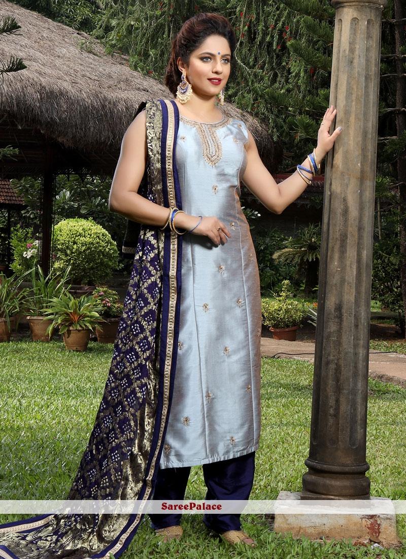 Handwork Silk Salwar Suit in Grey