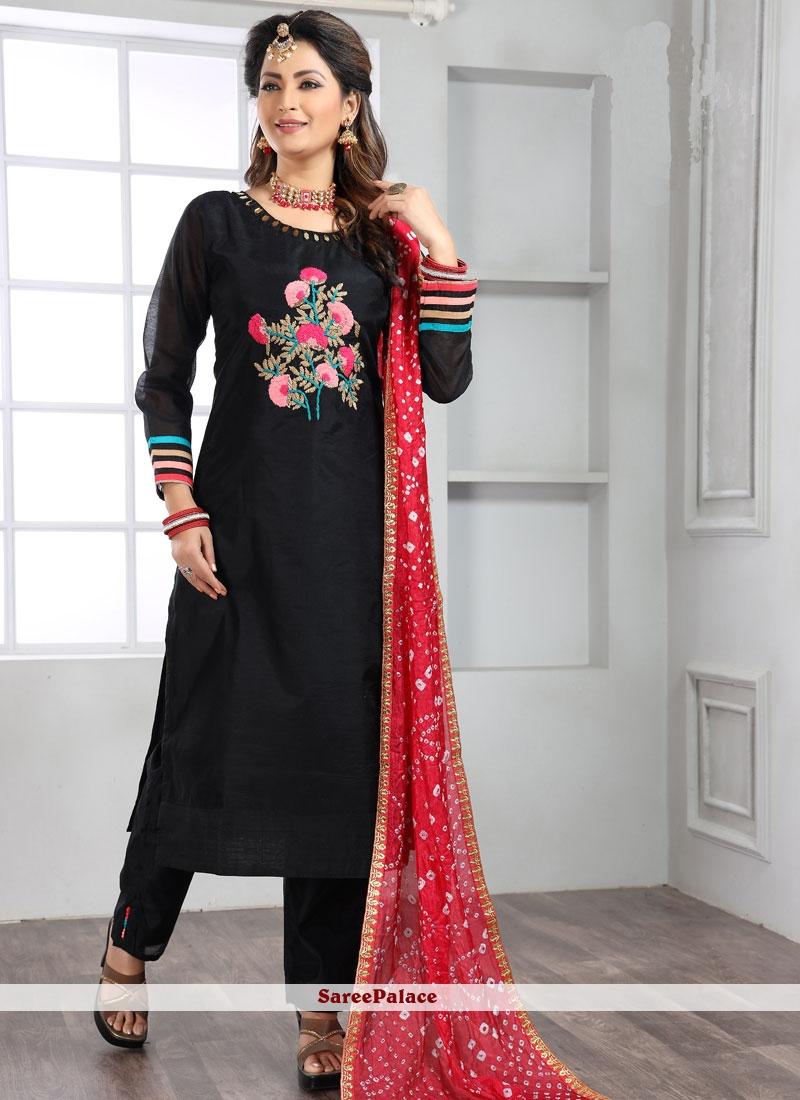 Handwork Silk Trendy Salwar Suit in Black