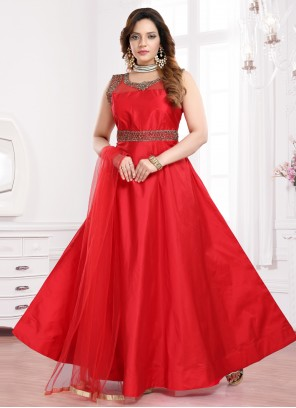Handwork Tafeta Silk Readymade Gown in Red