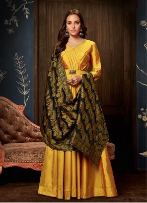 Handwork Tafeta silk Readymade Gown  in Yellow