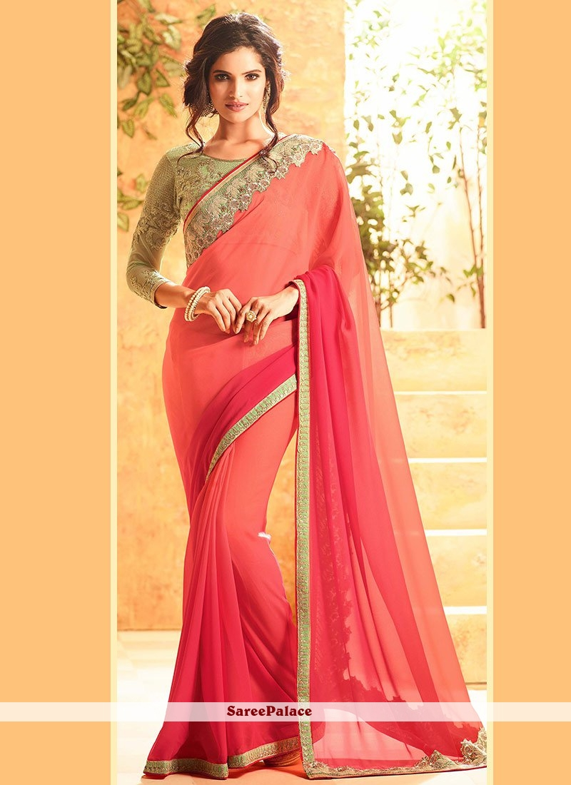 Haute Faux Georgette Embroidered Work Shaded Saree