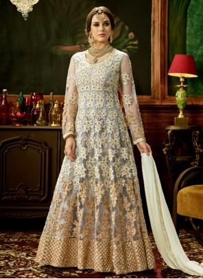 Haute Grey Floor Length Anarkali Suit