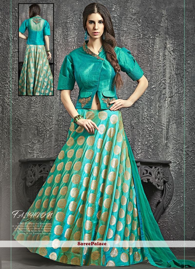 Haute Sea Green Banarasi Silk Lehenga Choli