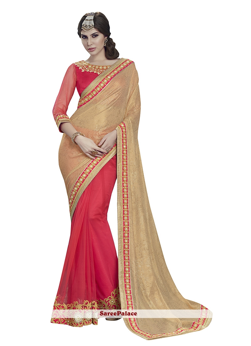 Heavenly Beige and Rose Pink Net Designer Half N Half Saree