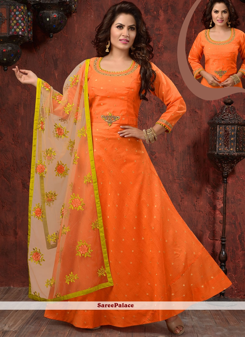 Heavenly Embroidered Work Readymade Anarkali Suit
