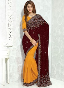 Heavenly Mustard Patch Border Work Designer Half N Half Saree