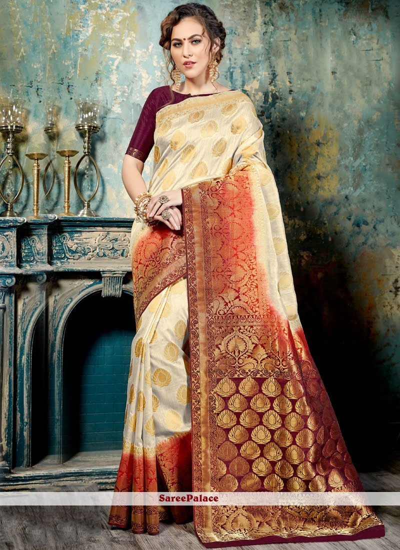 Honourable Abstract Print Work Silk Traditional  Saree