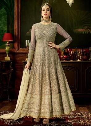 Honourable Art Silk Grey Floor Length Anarkali Suit
