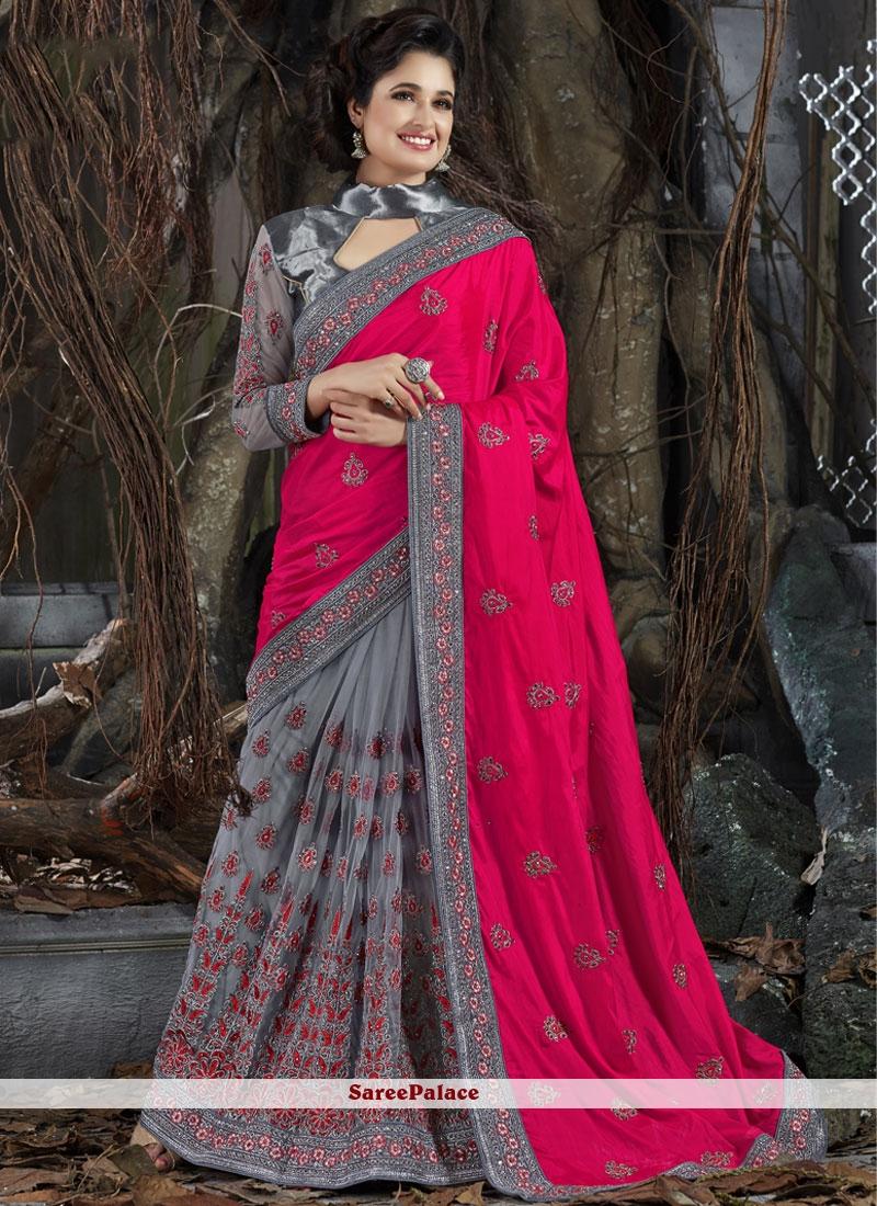 Honourable Art Silk Zari Work Designer Half N Half Saree