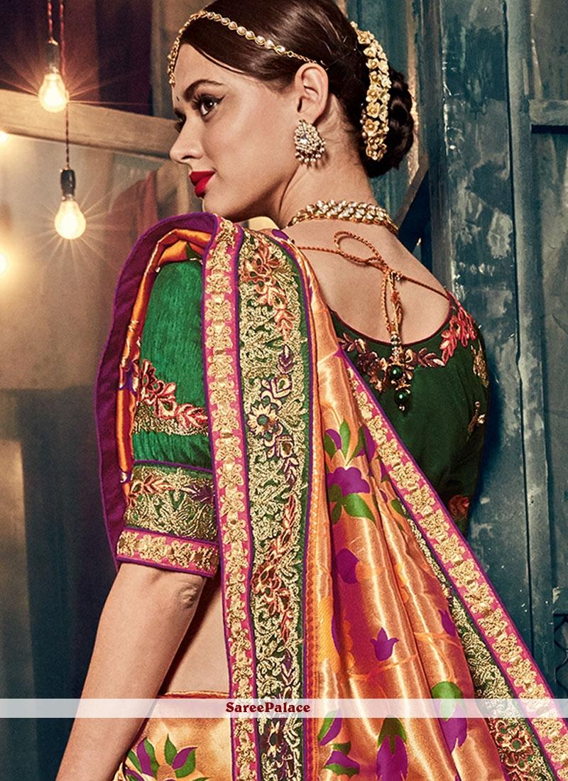 9d73b3ee44 Buy Honourable Banarasi Silk Resham Work Designer Traditional Saree ...
