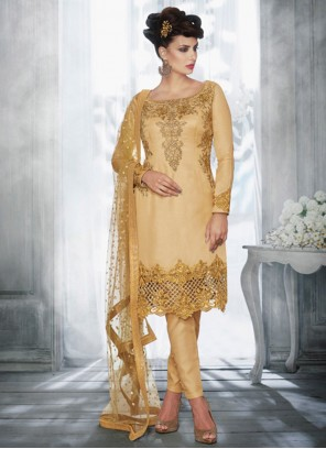 Honourable Embroidered Work Tussar Silk Pant Style Suit
