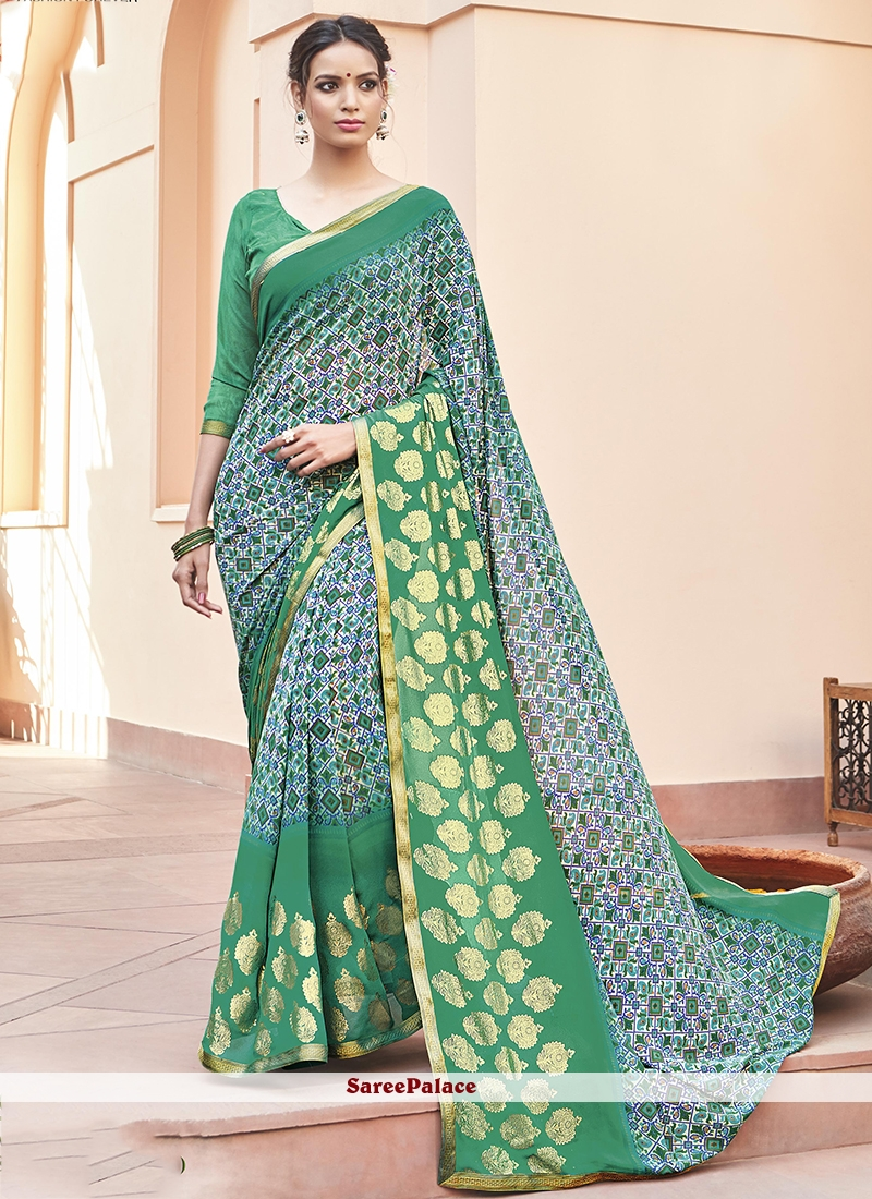 Honourable Faux Georgette Sea Green Printed Saree