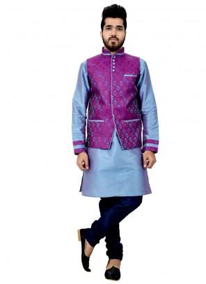 Honourable Plain Work Art Silk Teal Kurta Payjama With Jacket