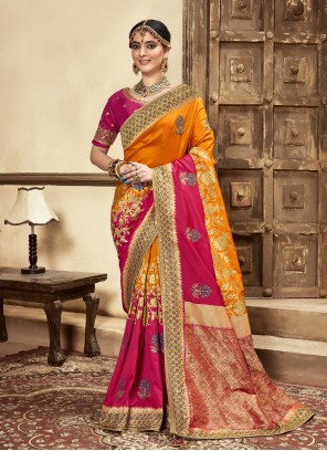 Hot Pink and Mustard Embroidered Banarasi Silk Designer Traditional Saree