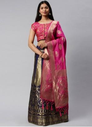 Hot Pink and Navy Blue Weaving Lehenga Choli