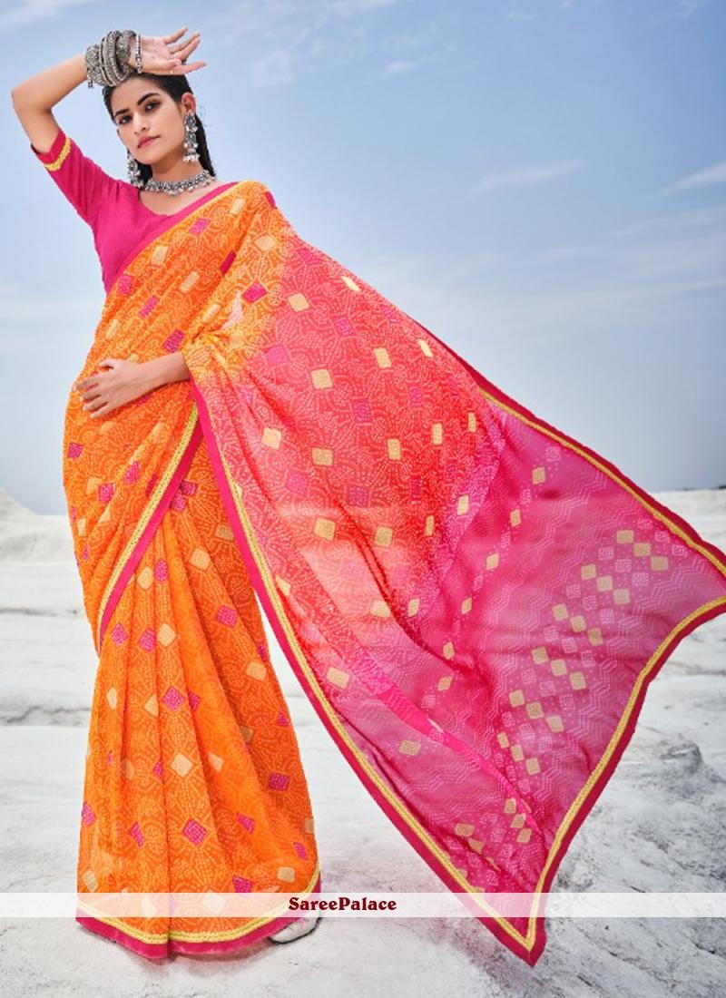 Hot Pink and Orange Abstract Print Shaded Saree