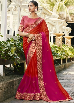 Hot Pink and Orange Festival Faux Georgette Traditional Saree