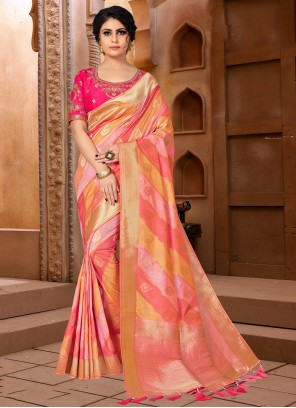 Hot Pink and Orange Wedding Designer Traditional Saree