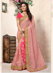 Hot Pink and Pink Reception Net Half N Half Trendy Saree
