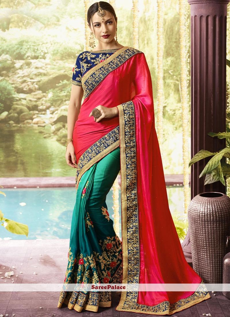 446af366ccb8b0 Buy Hot Pink and Sea Green Zari Art Silk Designer Half N Half Saree Online