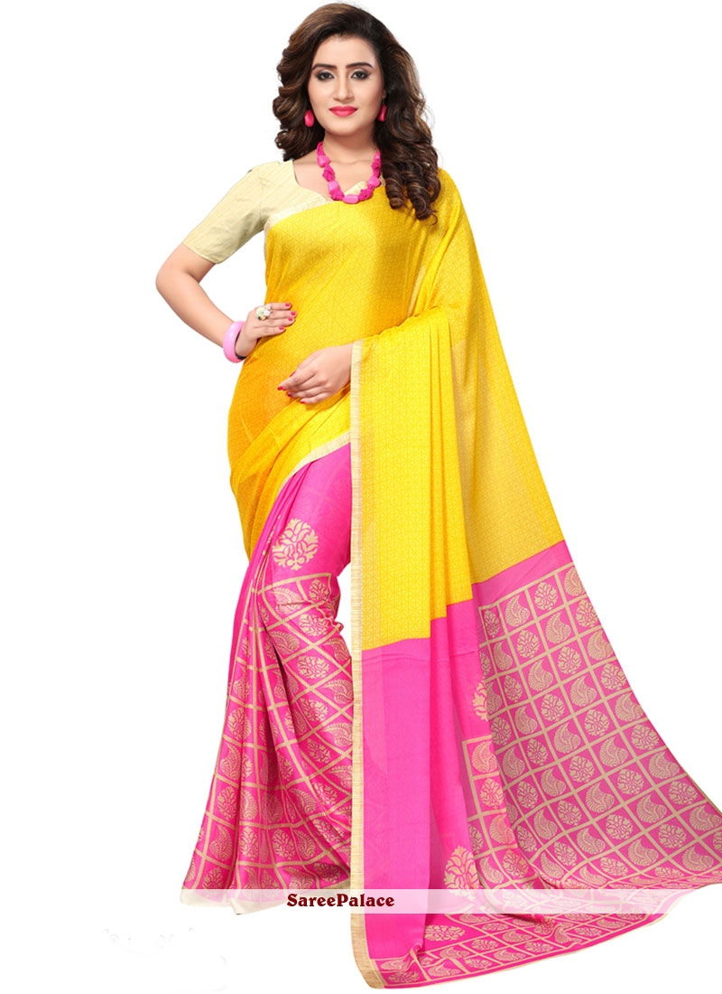 Hot Pink and Yellow Print Work Faux Georgette Casual Saree